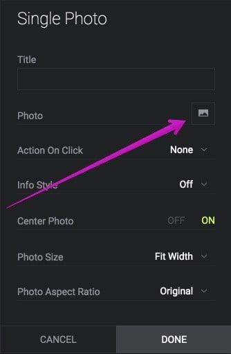 Pick a photo popup window on SmugMug